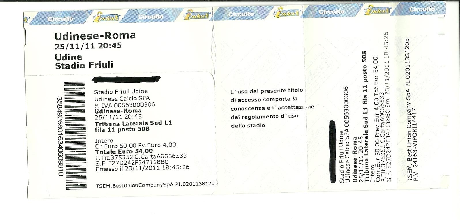 biglietti milan udinese 30 novembre 1989 - photo#1
