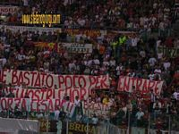 Presentazione AS Roma 2004/05, striscione in favore di Prandelli, la Brigata De Falchi in Tribuna Tevere